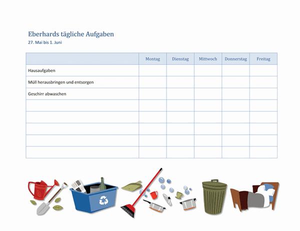 Checkliste für Hausarbeiten eines Kinds