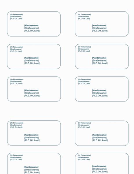 Versandetiketten (blauer Hintergrund, kann mit Avery5163 verwendet werden)