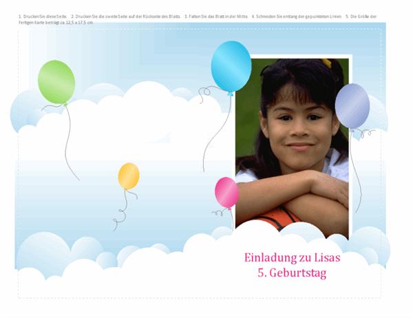 Geburtstagseinladung mit Foto (Ballons, gefaltet)