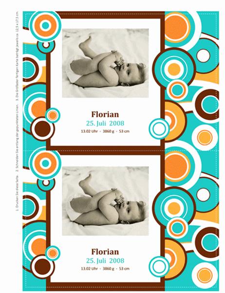 Karten zur Geburtsanzeige mit Foto (Kreise)