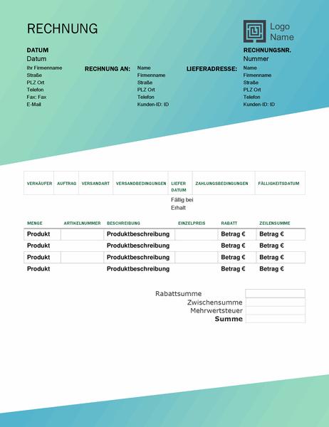 Verkaufsrechnung (Design mit grünem Farbverlauf)