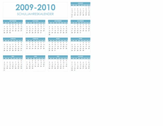 Akademischer Kalender 2009-2010 (1 Seite, Querformat, Mo-So)