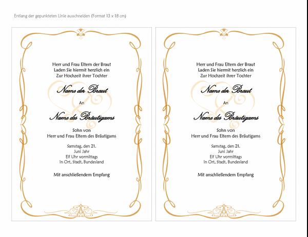"""Hochzeitseinladungen (Design """"Herz-Scrollen"""", A7-Format, 2 pro Seite)"""