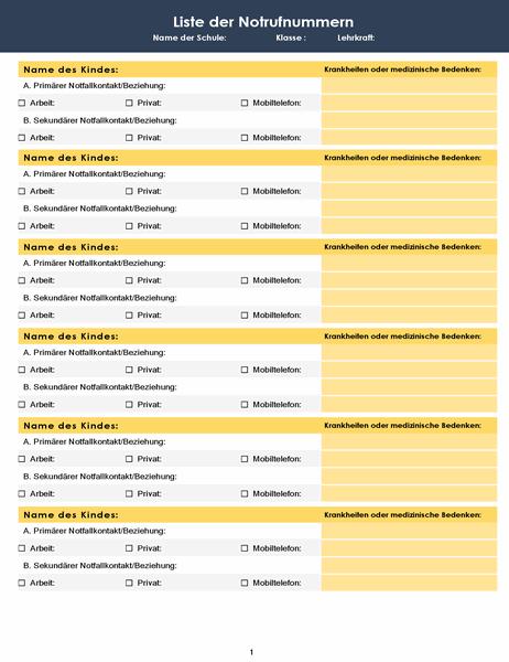 Liste der Notrufnummern der Klasse