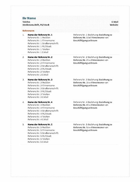 """Referenzliste zum Lebenslauf """"Funktional"""""""