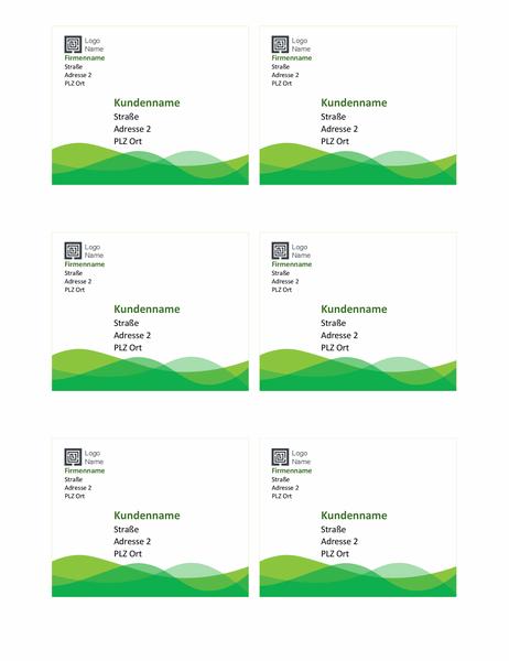 """Versandetiketten (Design """"Grüne Welle"""", 6 pro Seite)"""