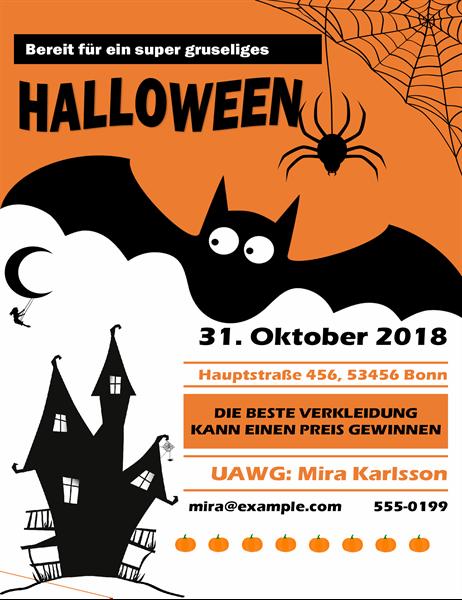 Handzettel für Halloweenparty mit gruseliger Fledermaus