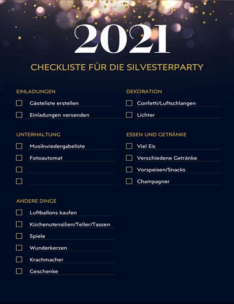 Checkliste für Silvesterparty