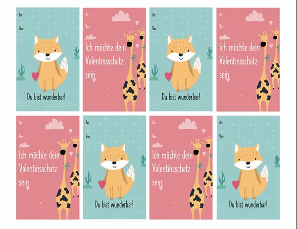 Karten zum Valentinstag für Kinder
