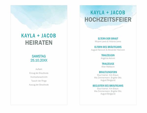 Hochzeitsprogramm in Aquarellfarben mit Auswaschungseffekt