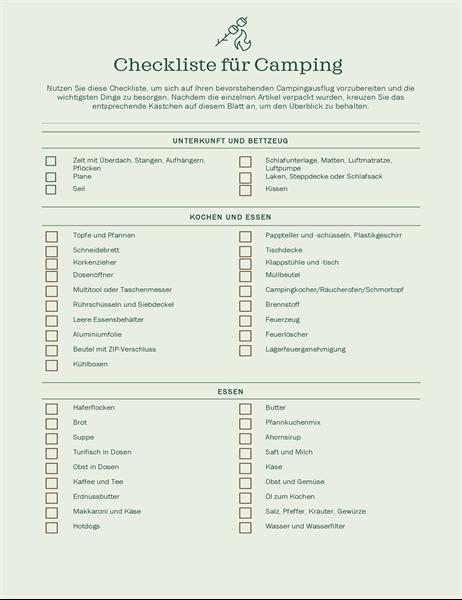 Checkliste für Camping