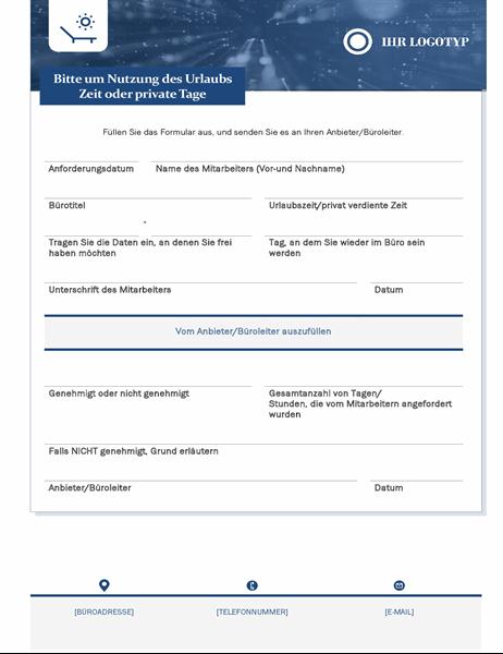 Mitarbeiter-Urlaubsanforderungsformular für Kleinunternehmen