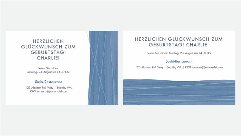 """Partyeinladungen """"Blaues Band"""" (zwei pro Seite)"""