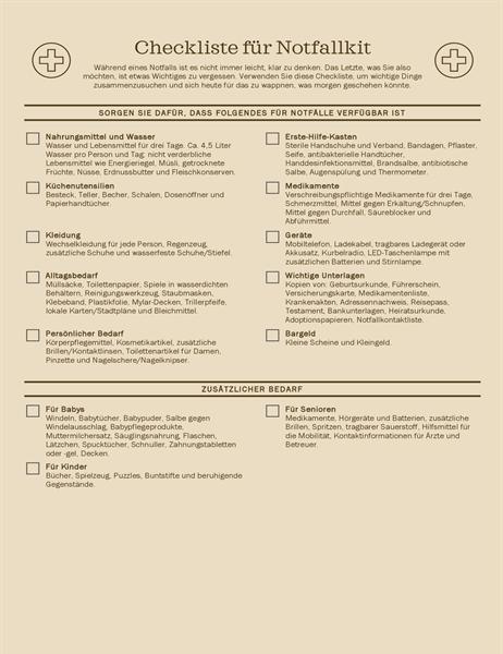 Checkliste für Notfallkit
