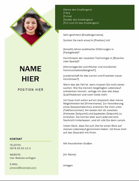 """Anschreiben im Design """"Grüner Würfel"""""""