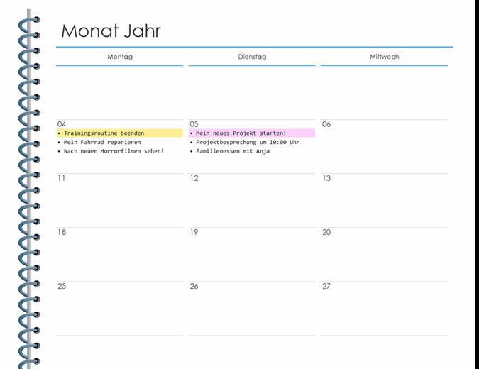 Persönlicher Monatsplaner