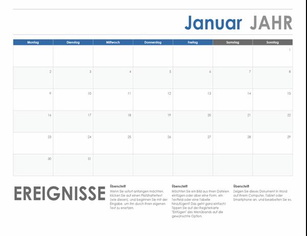 Horizontaler Kalender (Beginn Montag)