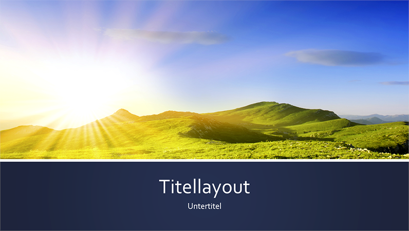 Blau gebänderte Naturpräsentation mit Foto von einem Sonnenaufgang in den Bergen (Breitbild)