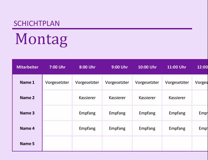 Mitarbeiterschichtplan
