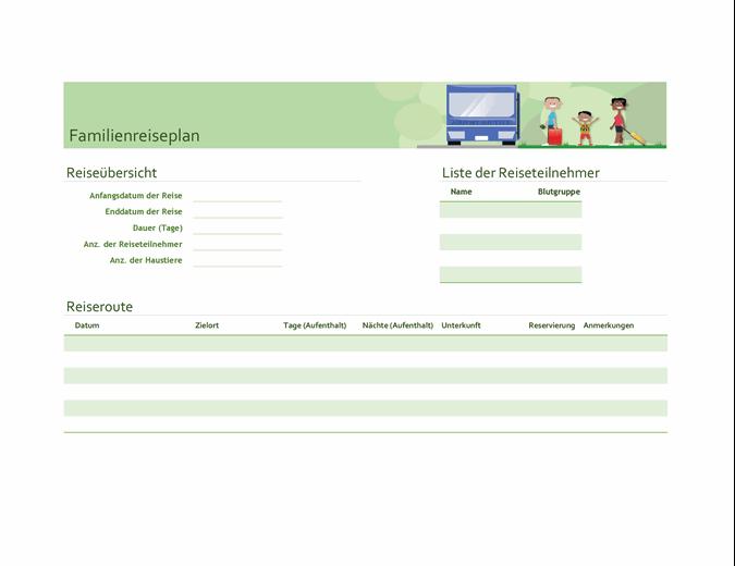 Reiseplaner für Familien