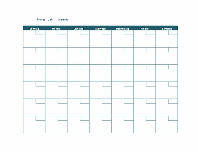 Leerer Monatskalender