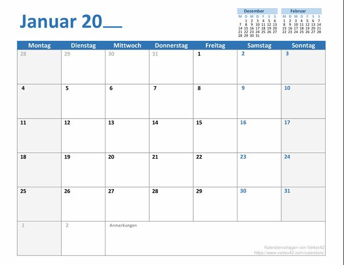Monatskalender für ein beliebiges Jahr