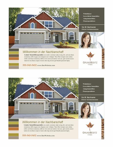 Handzettel für Immobilien (Halbseitig, 2 pro Seite)