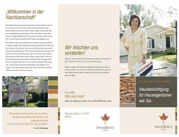 Broschüre für Immobilienbüro (dreifach gefaltet)
