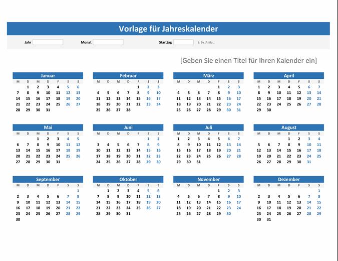 """Kalender """"Ein Jahr im Überblick"""" (Querformat)"""