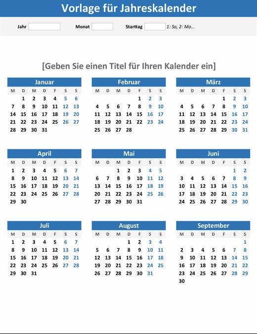 """Kalender """"Ein Jahr im Überblick"""" (Hochformat)"""