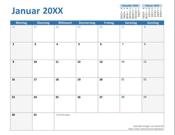 Benutzerdefinierter Kalender für jedes Jahr