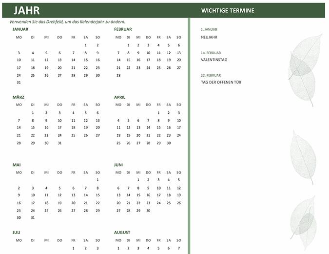 Kalender für Unternehmen (beliebiges Jahr, Mo-So)