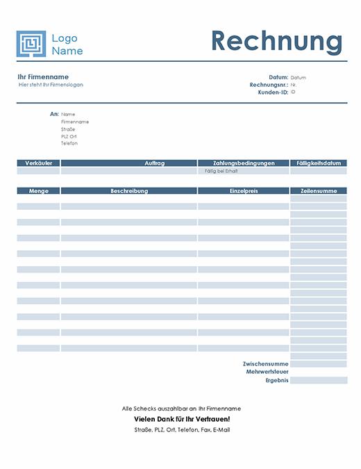 Servicerechnung (einfaches blaues Design)