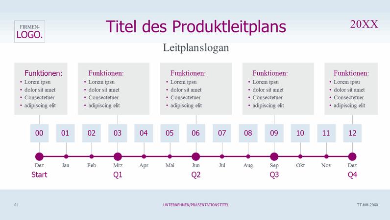 Produktleitplan mit Zeitachse, hell