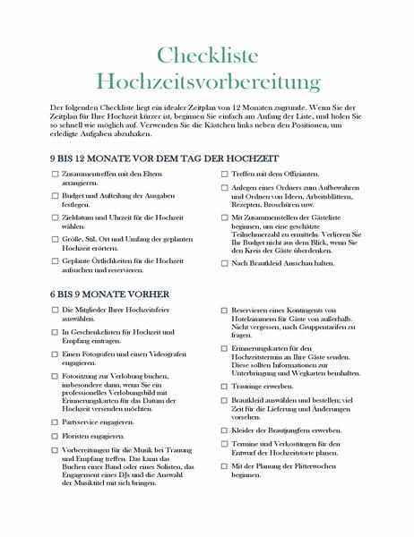 Checkliste Hochzeitsvorbereitung