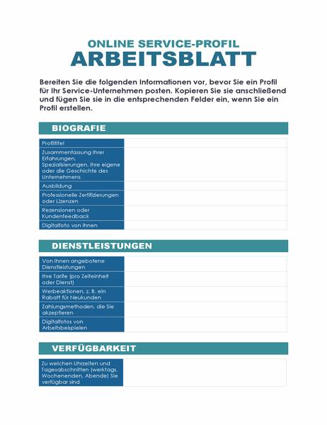 Online Dienstprofil-Arbeitsblatt
