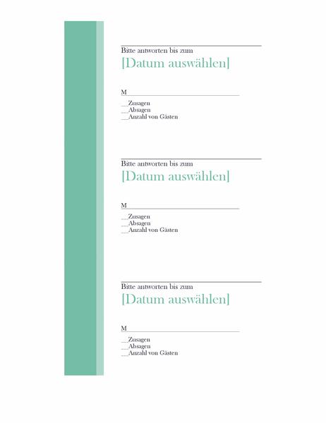 Antwortkarten für Hochzeit (3 pro Seite)
