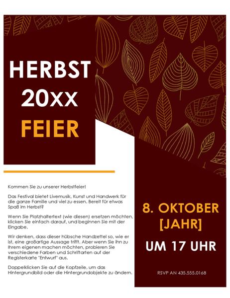 Herbstfestival-Handzettel
