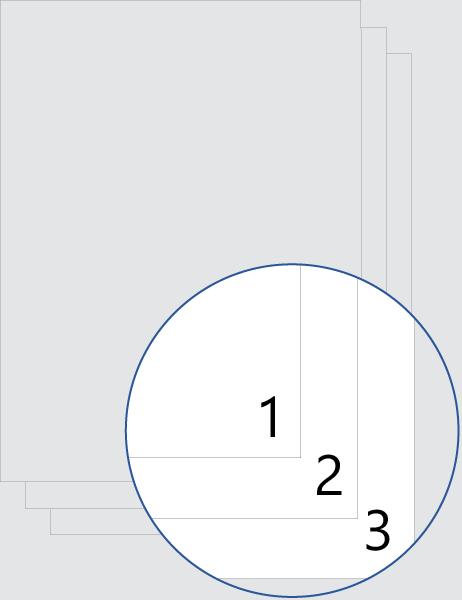 Alle Seiten (unten) nummeriert