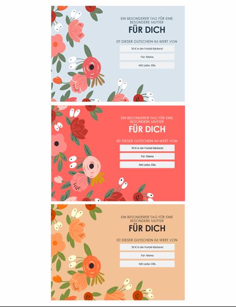 Elegante Geschenkgutscheine mit Blumenmuster zum Muttertag