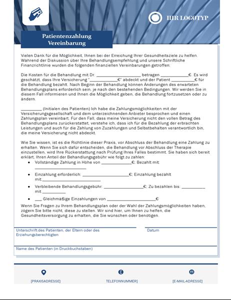 Patienten-Zahlungsvereinbarung für das Gesundheitswesen