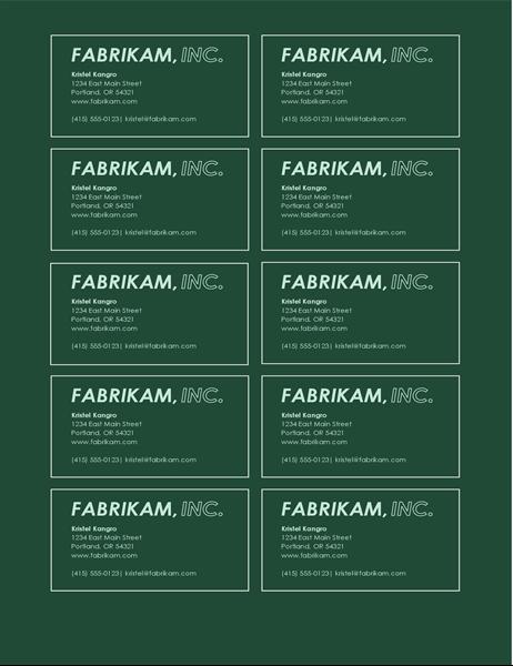 "Visitenkarten ""Logo in Fettdruck"" (10 pro Seite)"