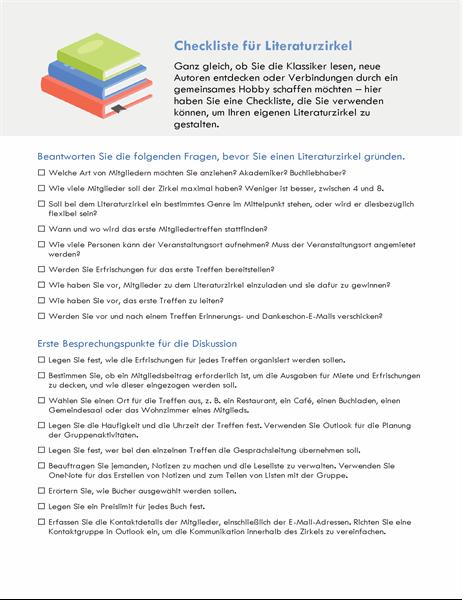 Checkliste für Lesegruppe
