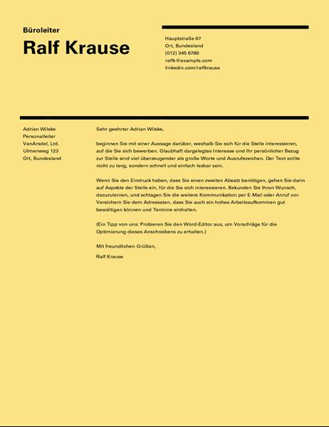 "Anschreiben ""Swiss Design"""