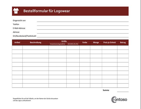 Bestellformular für Logowear