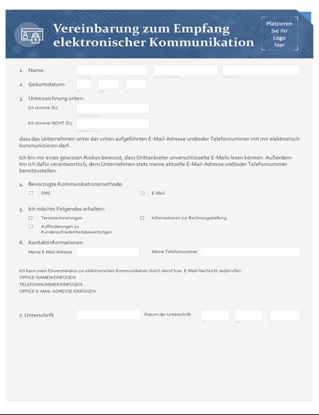 Zustimmung zum Empfang elektronischer Kommunikation für Kleinunternehmen