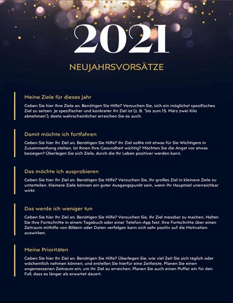 Arbeitsblatt für Neujahrsvorsätze