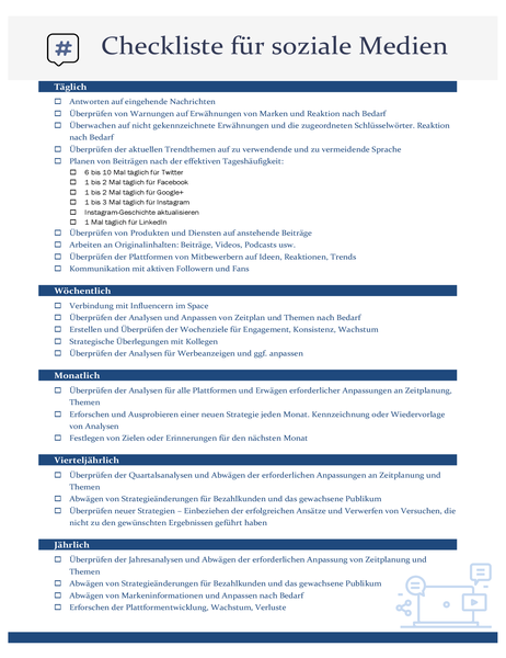 Checkliste für soziale Medien