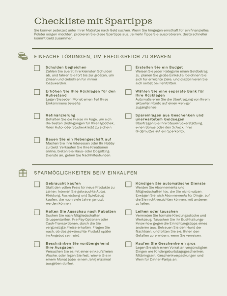 Checkliste mit Tipps zum Geldsparen