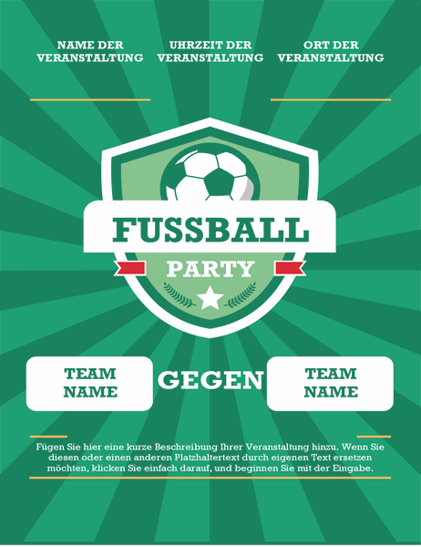 Fußball-Party-Handzettel (international)